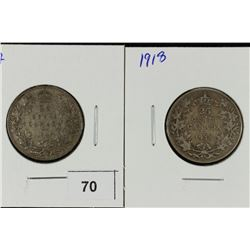 1917 & 1918 CANADA SILVER 25 CENTS