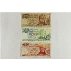 100,500 & 1000 PESOS ARGENTINA CURRENCY