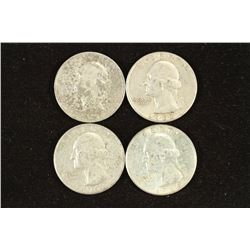 1953-D,57,62-D & 64 WASHINGTON SILVER QUARTERS