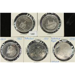 5 ASSORTED CANADA $1 TOKENS UNC SEE DESCRIPTION