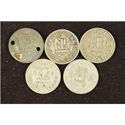 5 ASSORTED GREAT BRITAIN SILVER 6 PENCE, 1 HOLED