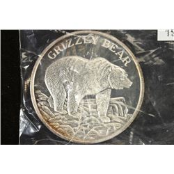2 TROY OZ. .999 FINE SILVER PROOF ROUND GRIZZLY