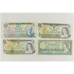 CANADA CURRENCY 1954 $1, 2-1973 $1 (1 IS TAPED) &