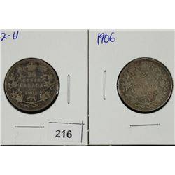 1902-H & 1906 CANADA SILVER 25 CENTS