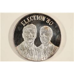 1 TROY OZ .999 FINE SILVER ROUND ELECTION' 80