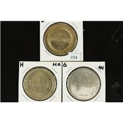 3 ASSORTED LOUISIANA $1 GAMING TOKENS SEE DESCRIP.