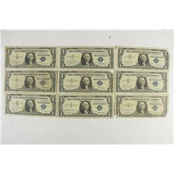 9 ASSORTED 1959 $1 SILVER CERTIFICATES