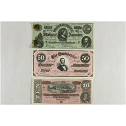 COPIES $10, $50 & $100 CONFEDERATE CURRENCY