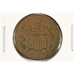 1864 US TWO CENT PIECE EXTRA FINE