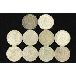 10 ASSORTED 1958-1966 MEXICO .100 SILVER PESOS