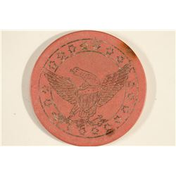 VINTAGE POKER CHIP PINK / BLACK BROWN ENGRAVED