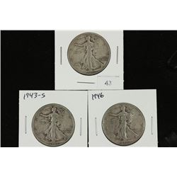 1942-S,43-S & 46 WALKING LIBERTY HALF DOLLARS