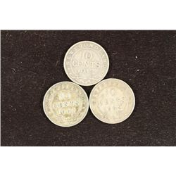 1912,41 & 42 NEWFOUNDLAND SILVER 10 CENTS