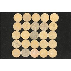 25 ASSORTED GREAT BRITAIN 1/2 PENNIES 1900-1967