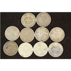 10 ASSORTED 1911-1920 CANADA SILVER 5 CENTS