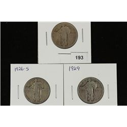 1926,26-S & 1929 STANDING LIBERTY QUARTERS