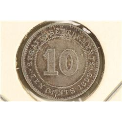 1899 STRAITS SETTLEMENTS SILVER 10 CENT EXTRA FINE