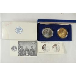 2 PIECE SPACE COMMEMORATIVE MEDAL SET ASTRONAUT