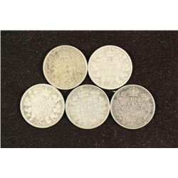 1902,04,06,07 & 10 CANADA SILVER 10 CENTS