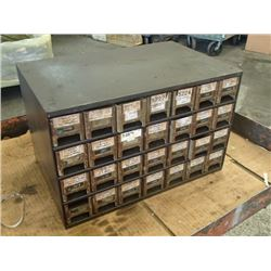 28 Drawer Tool Organizer with Contents, Overall: 17  x 11  x 10.5