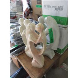 """3 New Carved Soapstone """"Lovers"""" Figurines"""