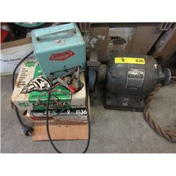 Vintage Bench Grinder, Auto Charger & 2 Drills
