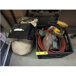 3 Extension Cords, Bag of Rope & Battery Charger
