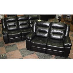 "BLACK LEATHERETTE RECLINING 83"" SOFA"