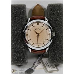 EYKI WATCH WITH BROWN STRAP.