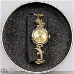 GIAN GIORGIO DOLPHIN BAND GOLD TONE WATCH.