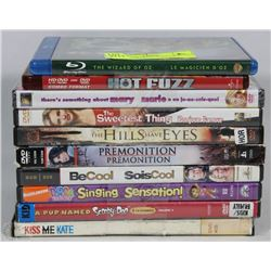 BOX OF ASSORTED DVDS INCL WIZARD OF OZ,