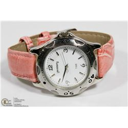 NEW UNIVERSITY QUARTZ WATCH WITH CORAL PINK BAND &