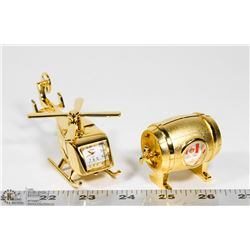 PAIR OF ORNAMENTAL DESKTOP CLOCKS - GOLD