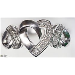 4) STERLING SILVER DIAMOND HEART SHAPED RING