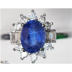 9) STERLING SILVER SAPPHIRE & CUBIC ZIRCONIA RING