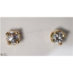 13) 10KT YELLOW GOLD WHITE SAPPHIRE EARRINGS