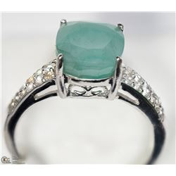 27) STERLING SILVER GENUINE EMERALD & CZ RING