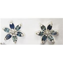 42) STERLING SILVER SAPPHIRE FLORAL EARRINGS