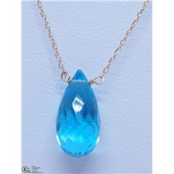 43) 10KT YELLOW GOLD BLUE TOPAZ NECKLACE