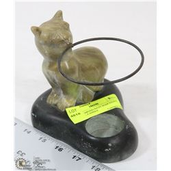 HAND CARVED INUIT SOAP STONE ANIMAL CANDLE