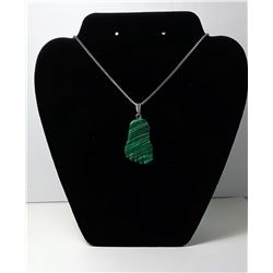 #9 - MALACHITE CARVED FOOT PENDANT ON CHAIN