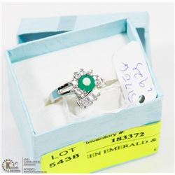 #100-GREEN EMERALD & CZ  RING