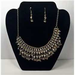 #13 - GOLD TONE & CRYSTAL STATEMENT NECKLACE