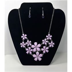 #12 - MAUVE & CRYSTAL FLOWER STATEMENT NECKLACE