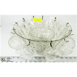 LARGE GLASS PUNCH BOWL W/ LADLE, STAND & GLASSES