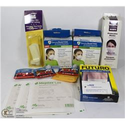 MEDICAL ITEMS INCLUDING 100 SINGLE USE MASKS,