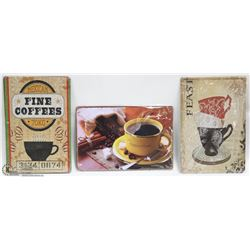 LOT OF 3 COFFEE LOVERS TIN SIGNS