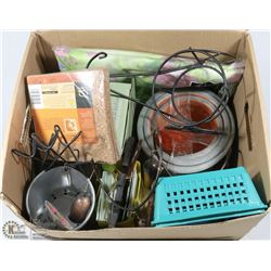 BOX OF GARDEN NICK NACKS INCL ASSORTED NEW PACKS