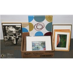 BOX OF ASSORTED FRAMES & PRINTS.