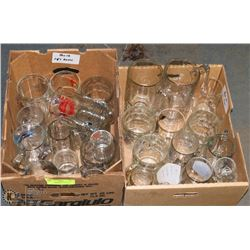 12) TWO BOXES OF ASSORTED GLASS BEER MUGS.